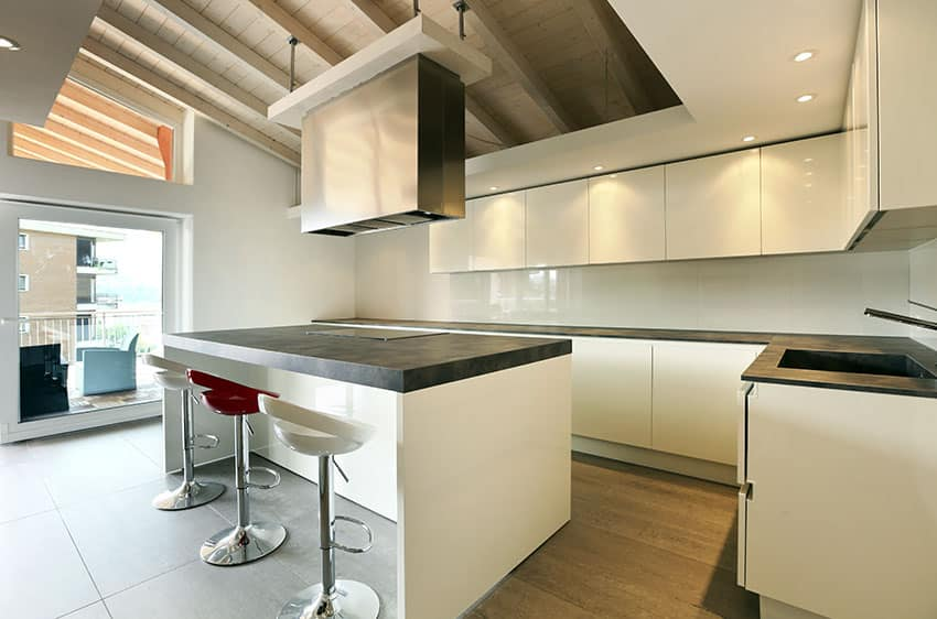 Modern kitchen with high gloss white lacquer cabinets and island with black soapstone countertops