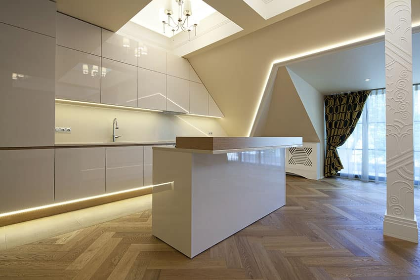 Modern minimalist high gloss white cabinet kitchen with island and wood counter