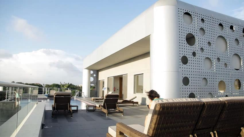 Modern rooftop apartment design with swimming pool
