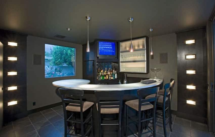 Modern wet bar with pendant lights and dark decor