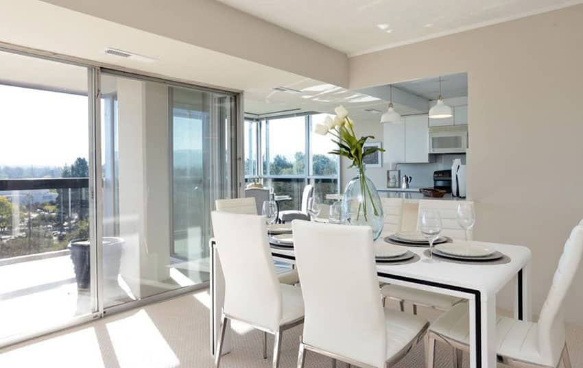 Modern with dining room in beautiful home with balcony view