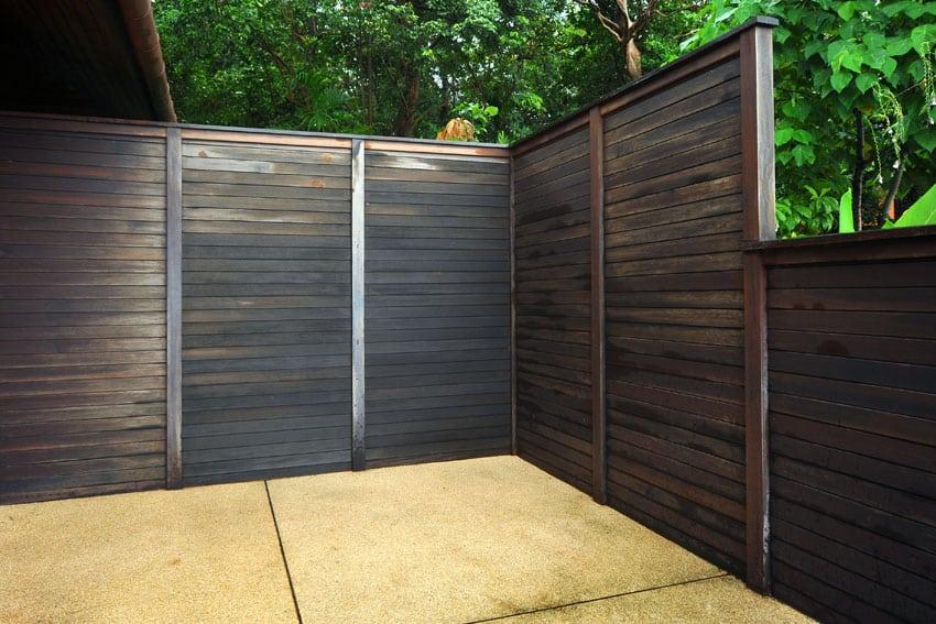 Modern wood fence with horizontal wood planks