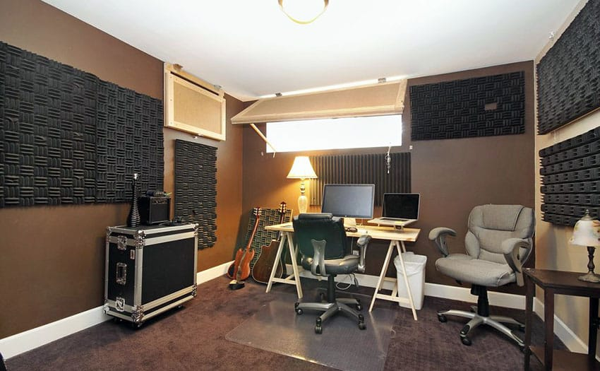 Home music recording studio with sound proofing