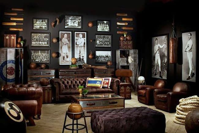 Old fashioned sports room man cave