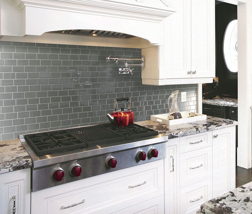 Peel and stick gray backsplash mosaic tiles