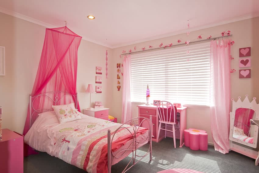 Pink decorated little girls room with bed canopy