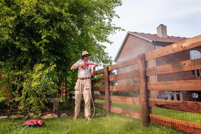Pressure wash cedar wood fence