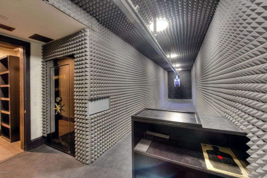 Private home shooting range with gun safe