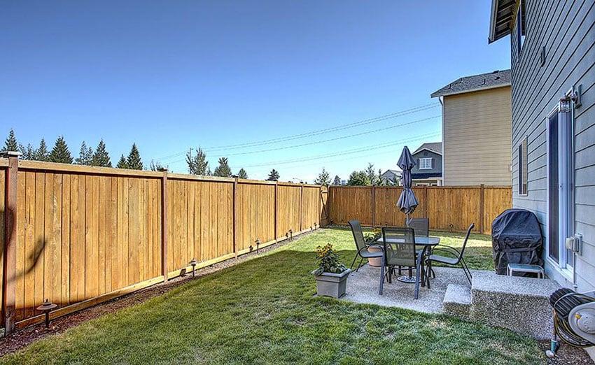 Red cedar fence in backyard