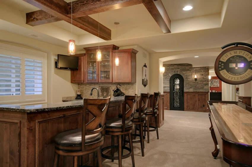 Rustic home bar and shuffleboard table