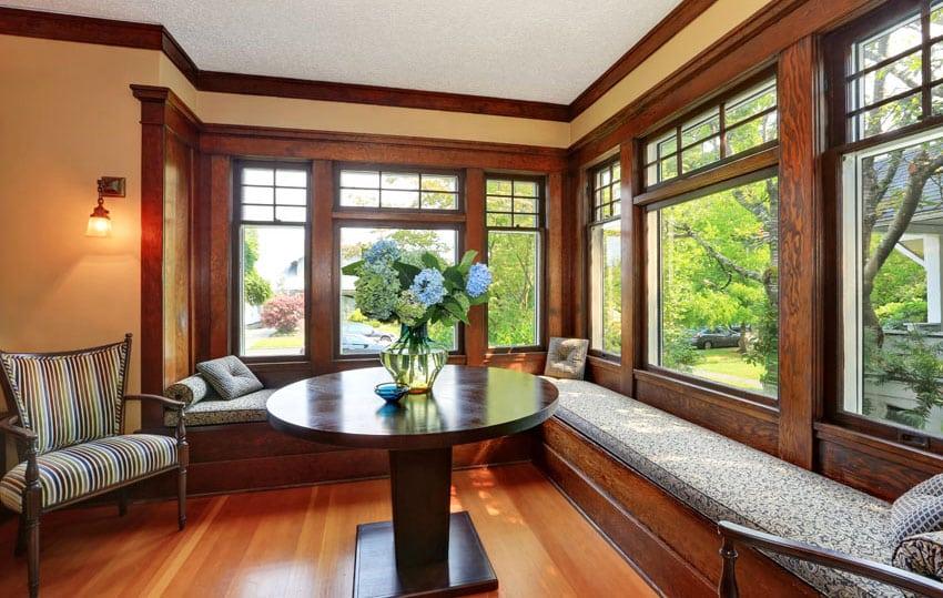 Rustic craftsman style window seat