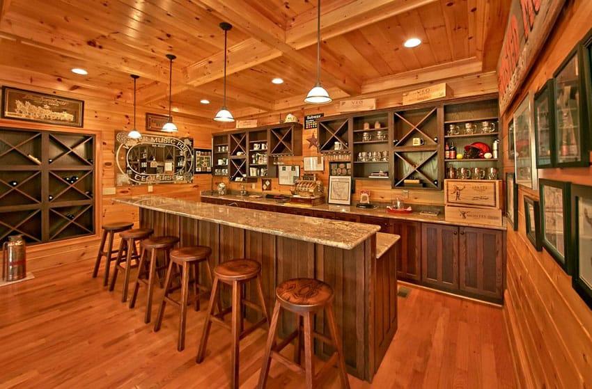 Rustic wood bar with sports memorabilia
