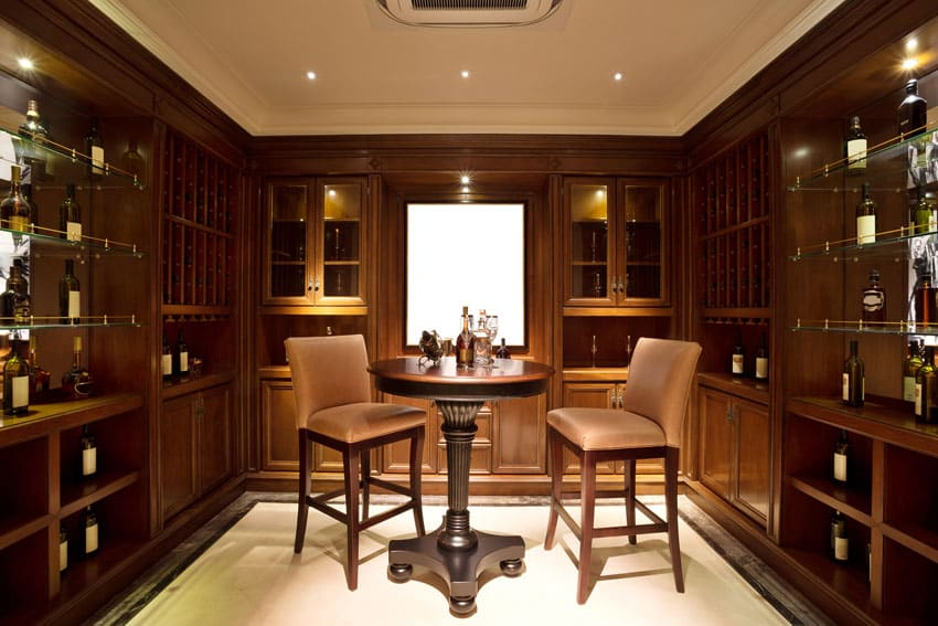 Custom wood home bar with wine cabinets
