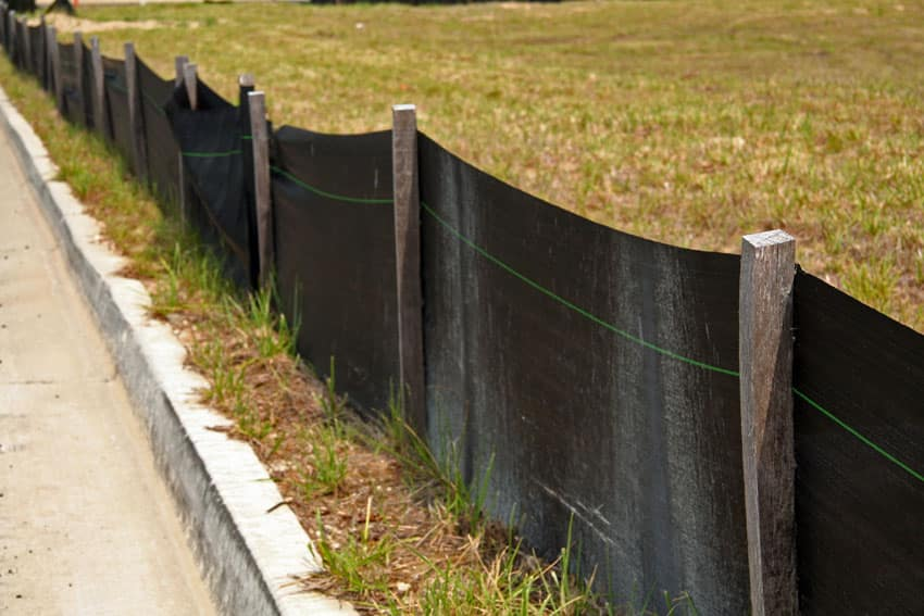 Silt fence for new home construction