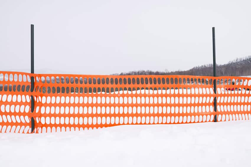 Snow fence on roadside