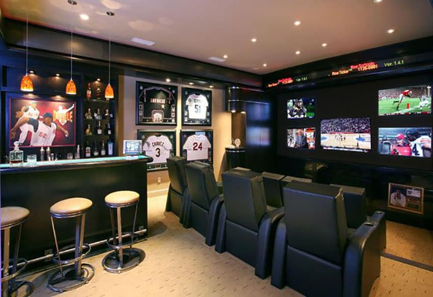 Sports team man cave with home bar