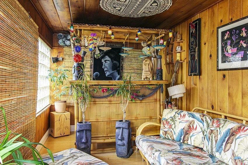 Swanky man cave with tiki bar and bamboo decor