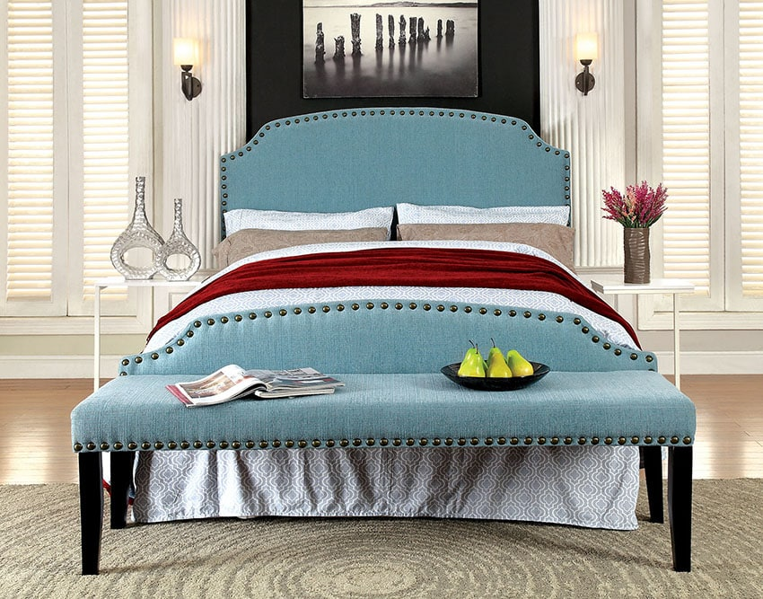 Teal bedroom bench millersburg upholstered fabric