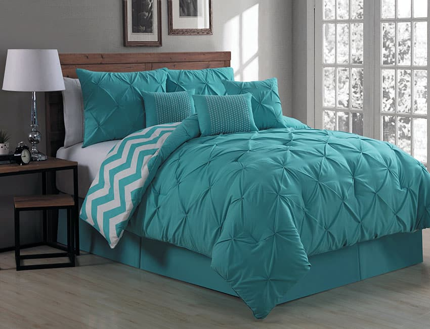 Teal bedroom comforter set germain 7 piece reversible bed set