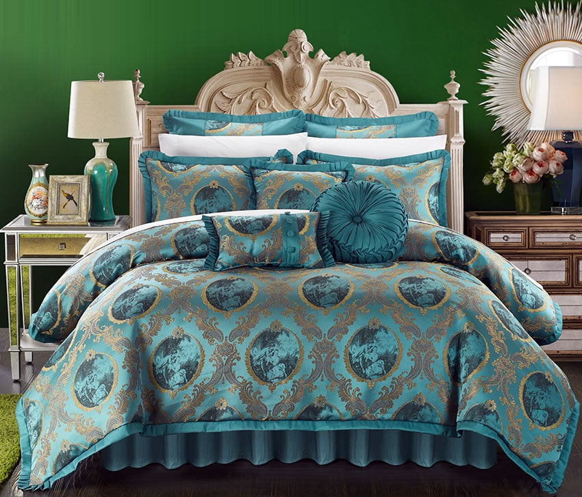 Teal bedroom comforter set romeo and juliet 9 pieces