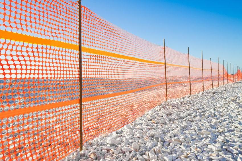 Temporary orange construction fence