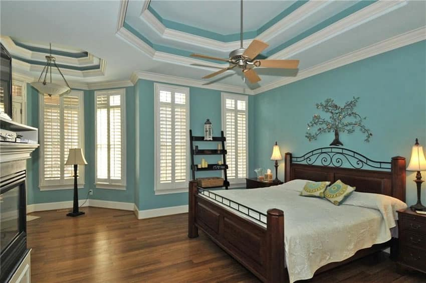 Traditional bedroom with teal painted walls, wood flooring and white molding