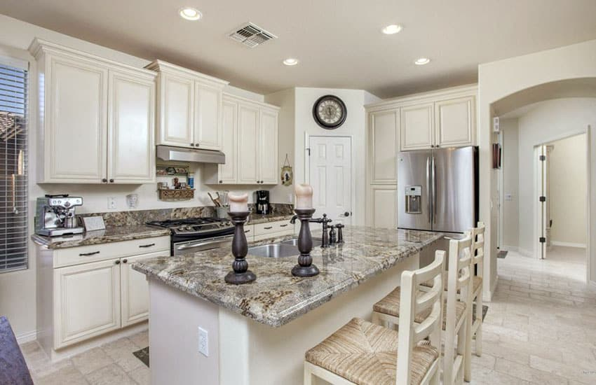 Tile And Backsplash For Kitchen With Antique White Cabinets