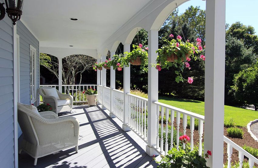 White front porch fence