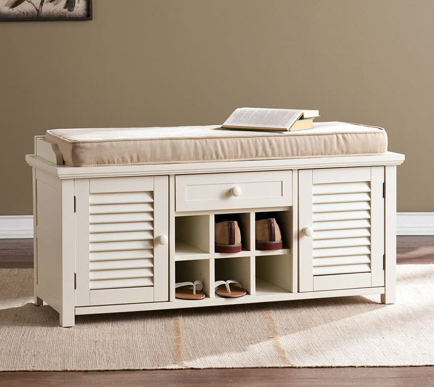 Window seat storage bench in antique white