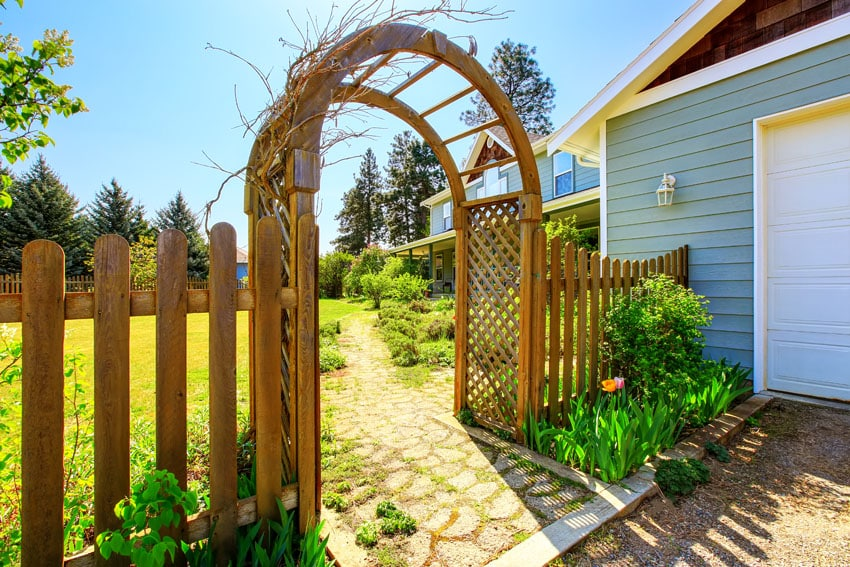 Wood arbor and fence