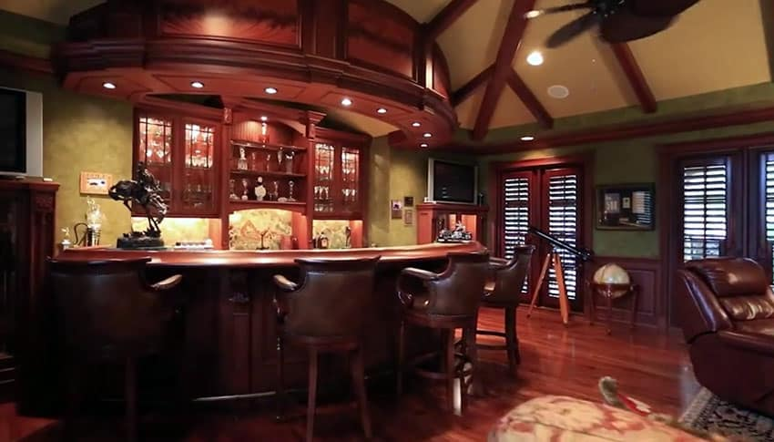 Wood home bar and lounge room