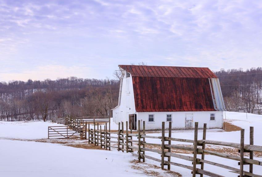 Wood split rail fence on farm