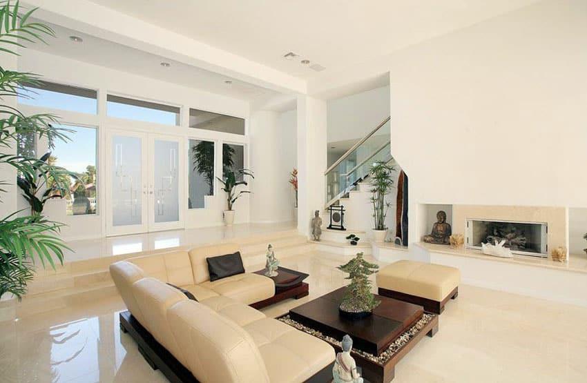 Asian inspired sunken living room