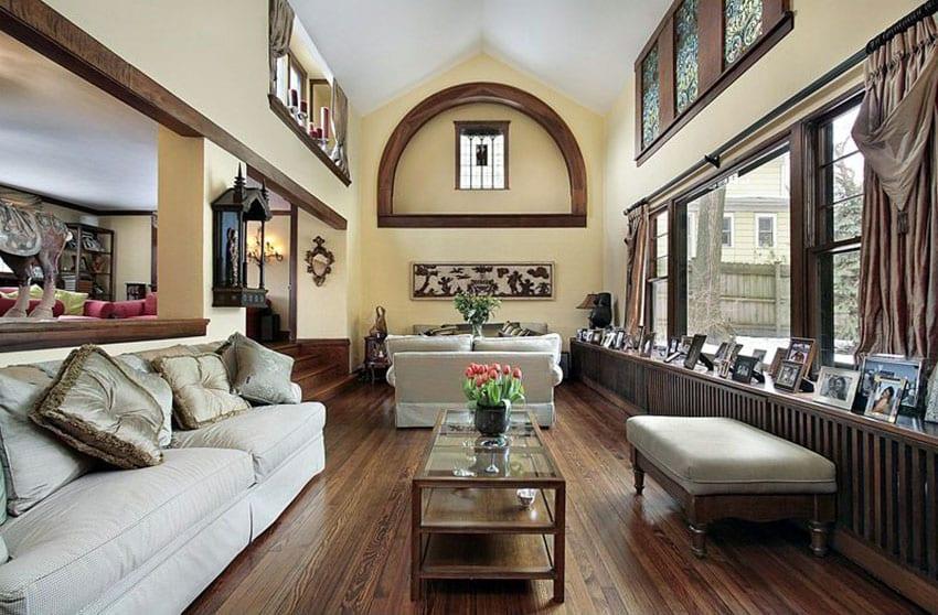 Craftsman sunken living room with built in cabinet