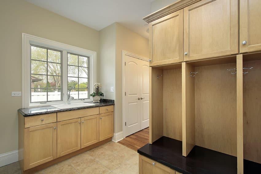 Light wood cabinet mudroom