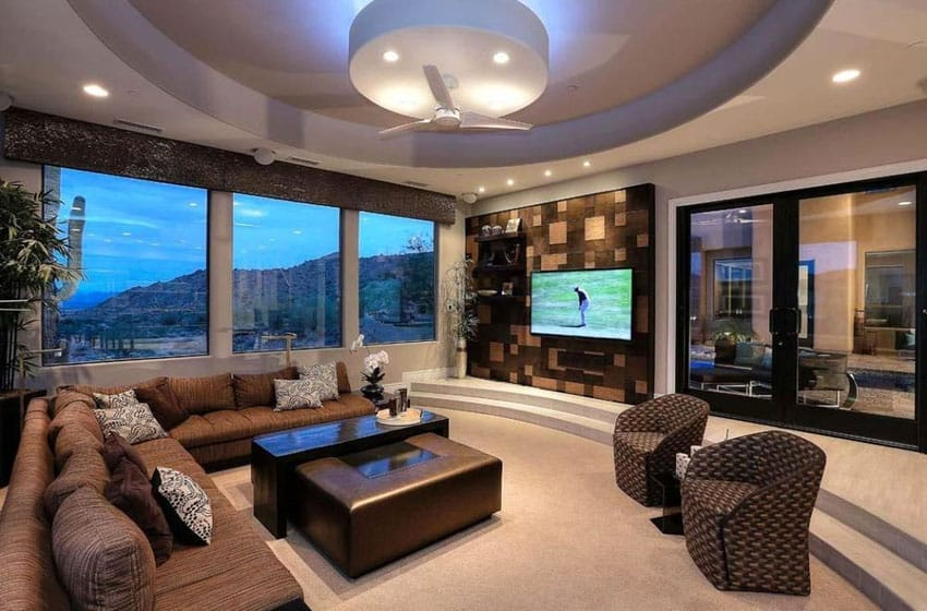 Luxury sunken living room with circular tray ceiling