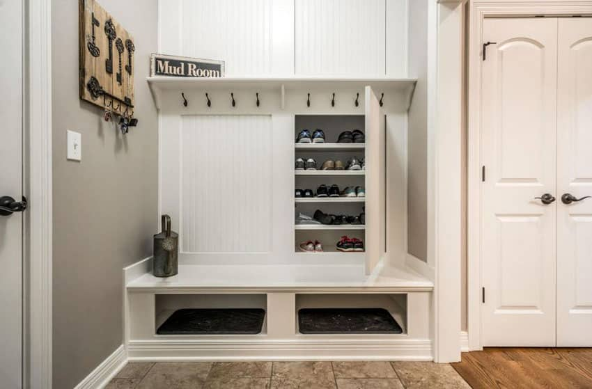 Cottage style mudroom shoe and storage cabinet