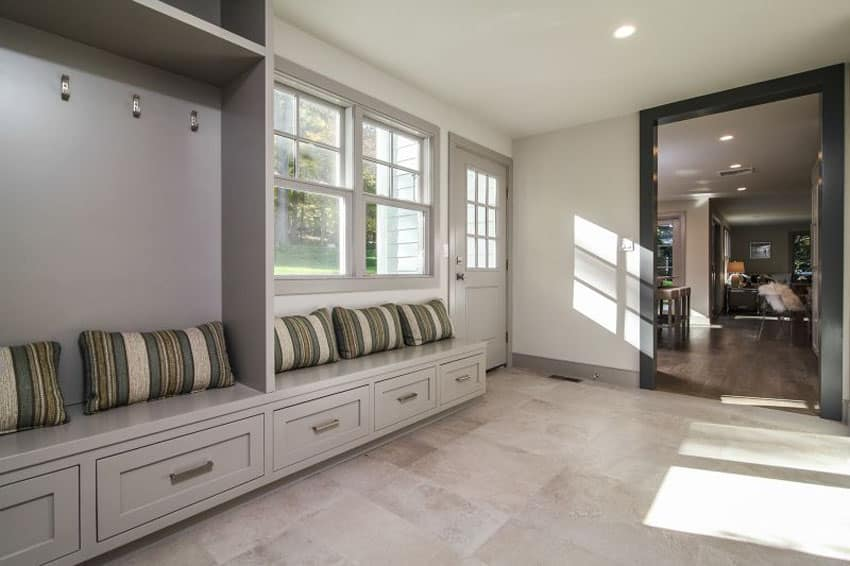 Mudroom with under bench storage cabinets