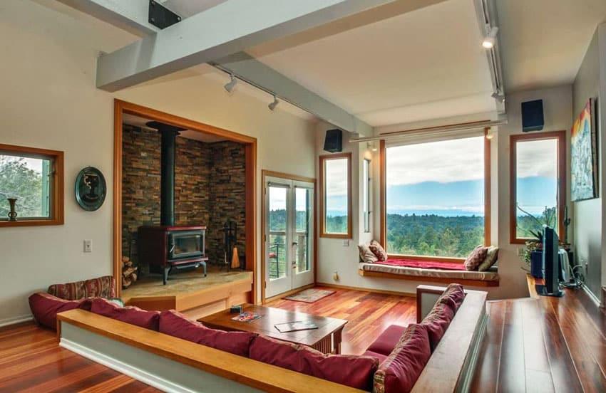 Sunken living room with sweeping views