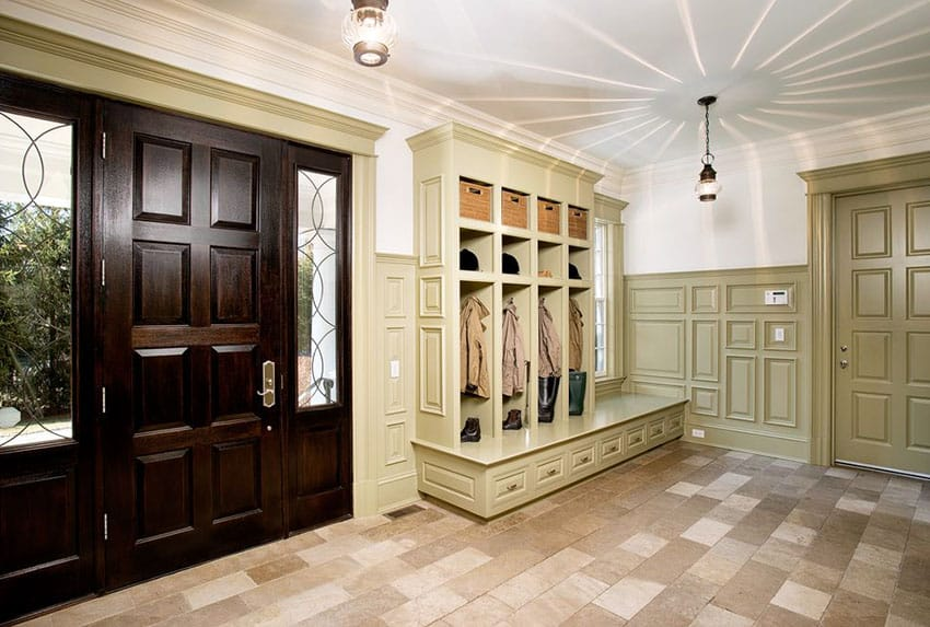 Traditional mud room with custom built in cabinet storage