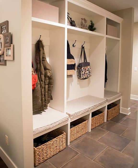 Traditional mud room with wicker basket storage