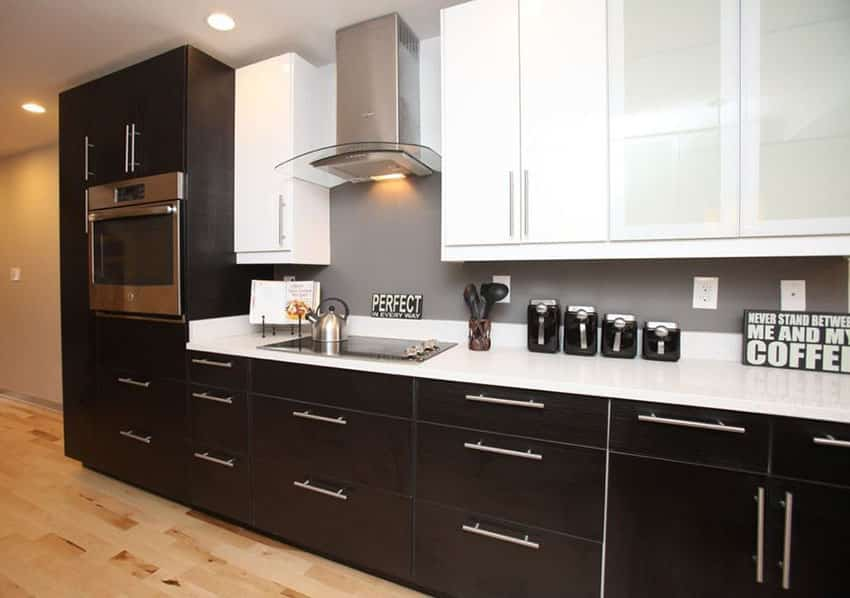 Black and white cabinet kitchen on one wall