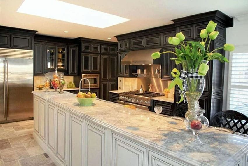 Black cabinet kitchen with white painted island