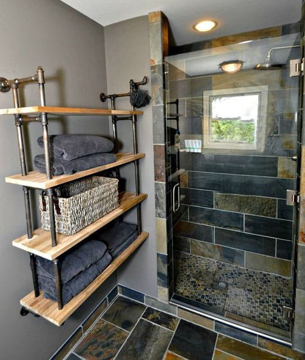Compact bathroom with french factory shelving