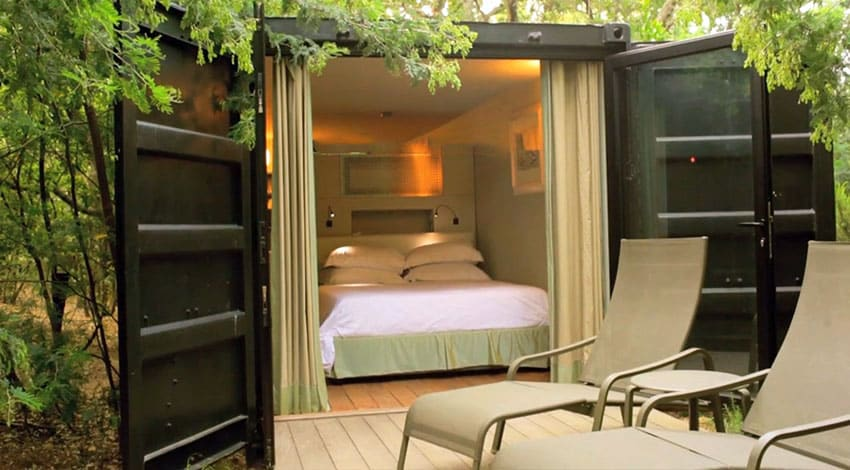Container house with bedroom and deck outside doors