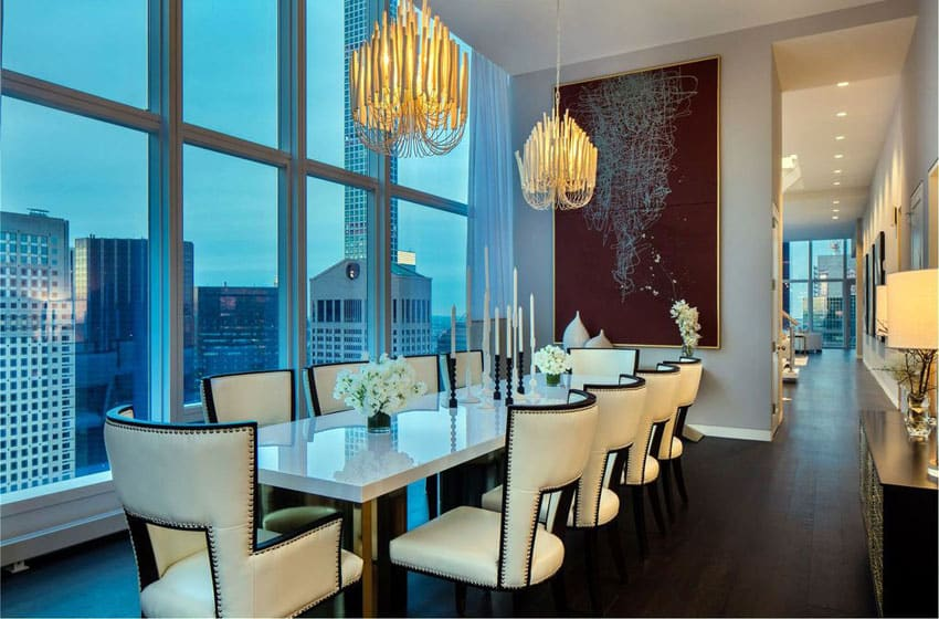 Contemporary formal dining room with city views