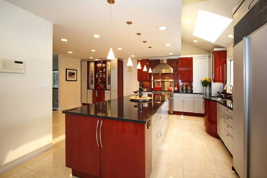 contemporary-kitchen-with-cherry-cabinets-and-absolute-black-granite-countertops