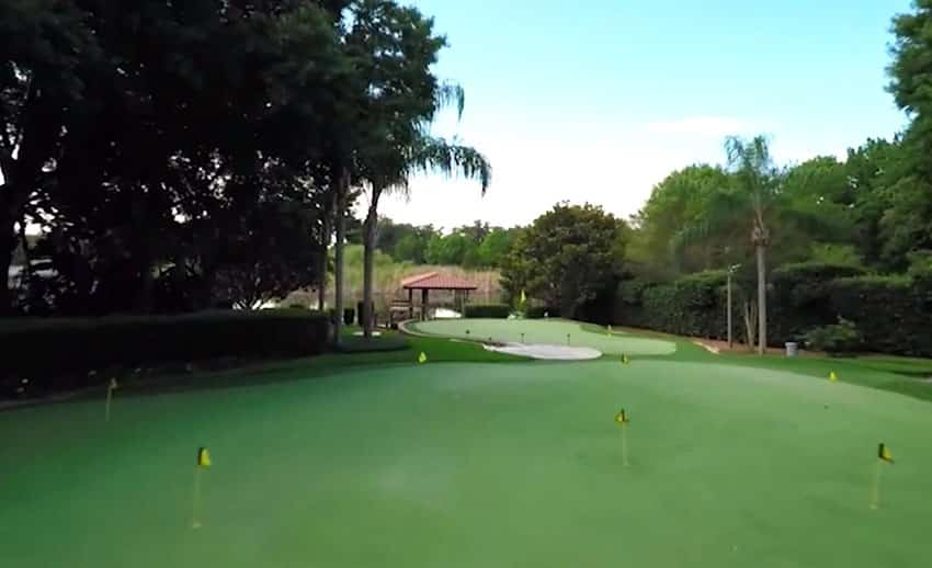 Double putting greens at luxury home