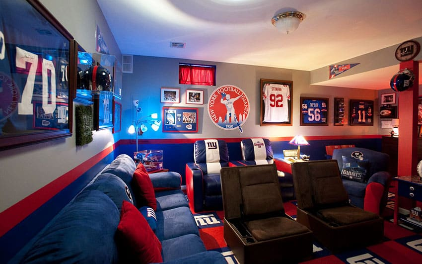 Football man cave with nfl team furniture and decor