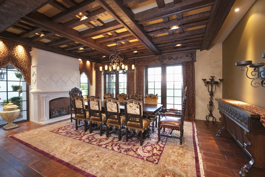Formal dining room with fireplace and box ceiling